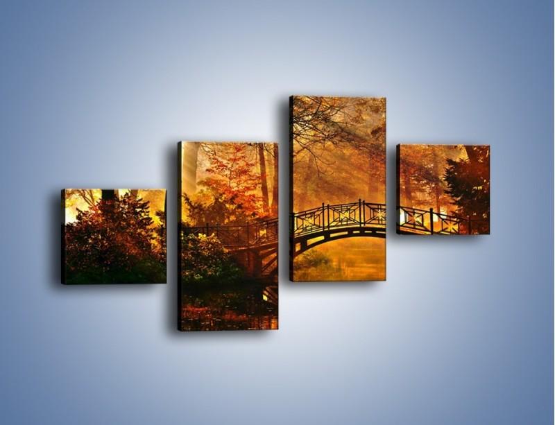 Obraz na płótnie – Cudowny spacer jesienną porą – czteroczęściowy KN1319AW3