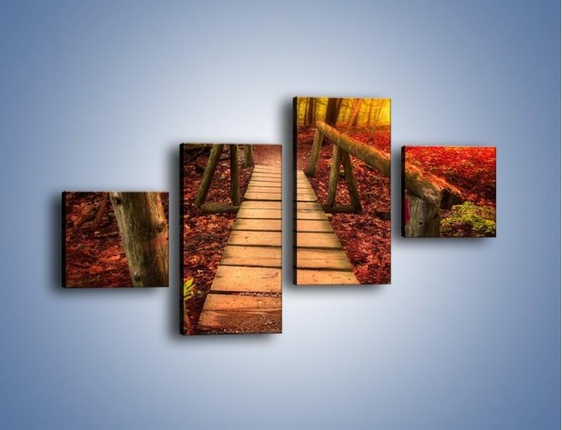Obraz na płótnie – Krótkie przejście przez las – czteroczęściowy KN1330AW3