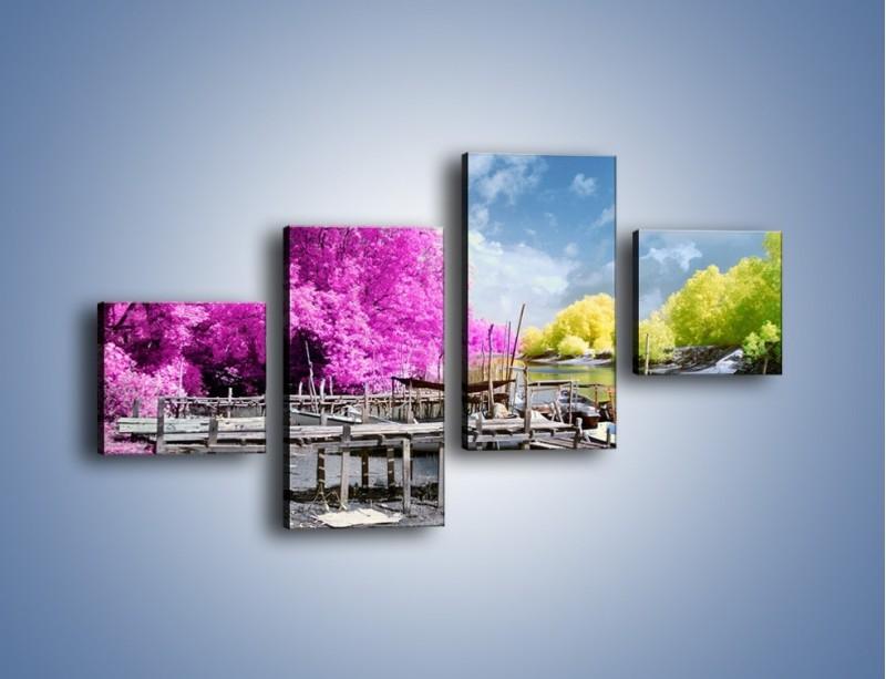 Obraz na płótnie – Wyraźne kolory w szarym tle – czteroczęściowy KN1334AW3