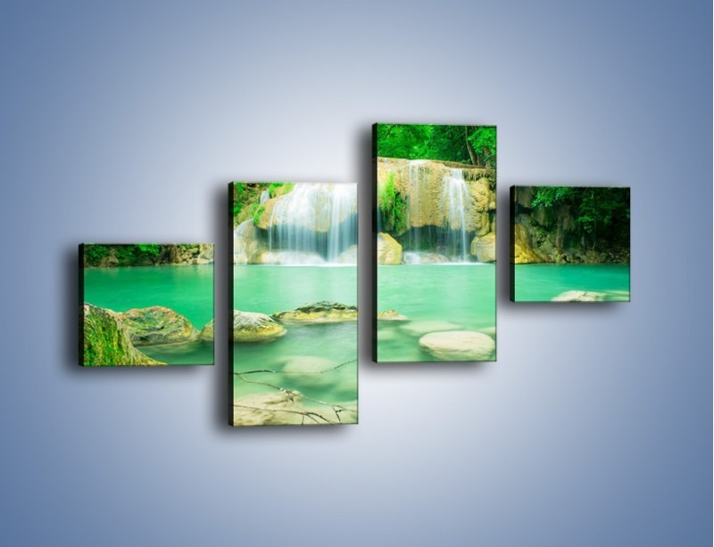 Obraz na płótnie – Jasne kamienie pod wodą – czteroczęściowy KN1340AW3