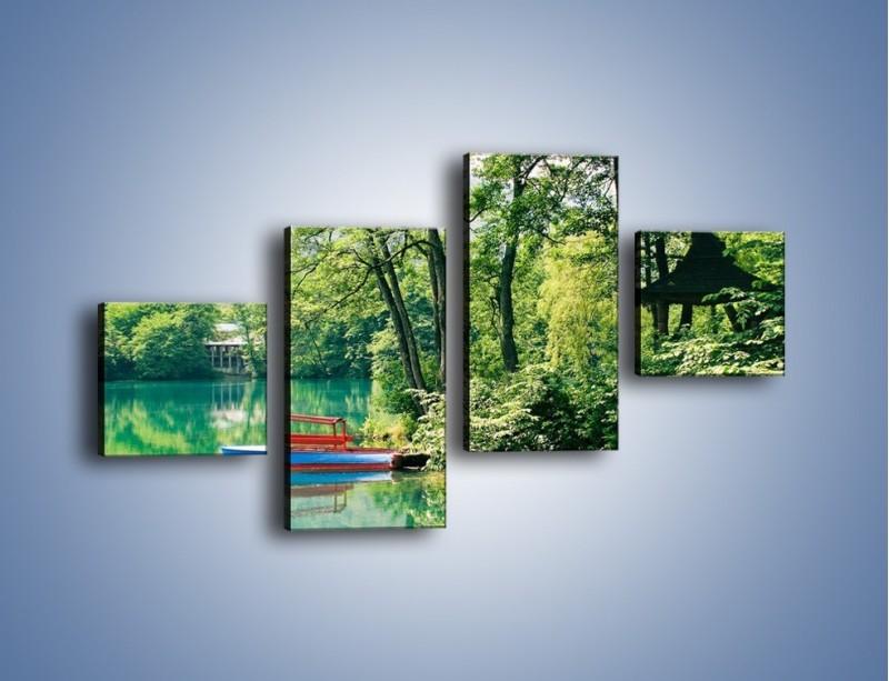 Obraz na płótnie – Wakacje nad jeziorem – czteroczęściowy KN155W3