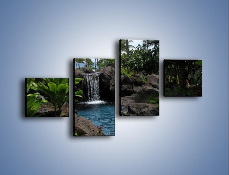 Obraz na płótnie – Wodospad wśród palm – czteroczęściowy KN208W3