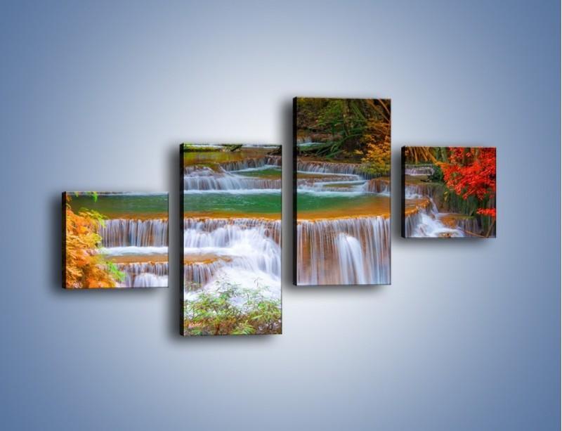 Obraz na płótnie – Schodki z wodospadów – czteroczęściowy KN287W3