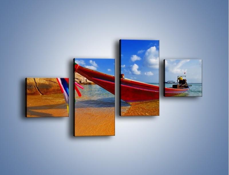 Obraz na płótnie – Kolorowa łódź na brzegu – czteroczęściowy KN415W3