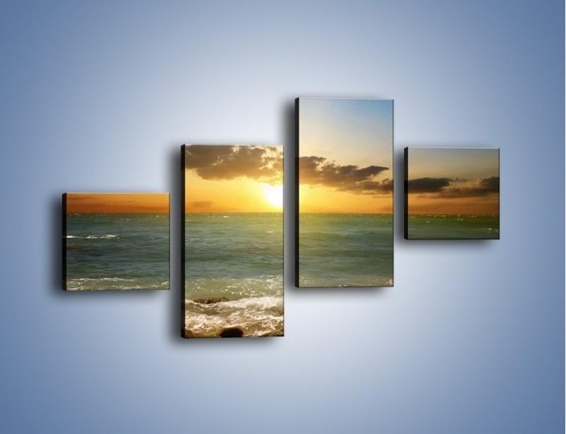 Obraz na płótnie – Kamienisty brzeg i jego spokój – czteroczęściowy KN482W3