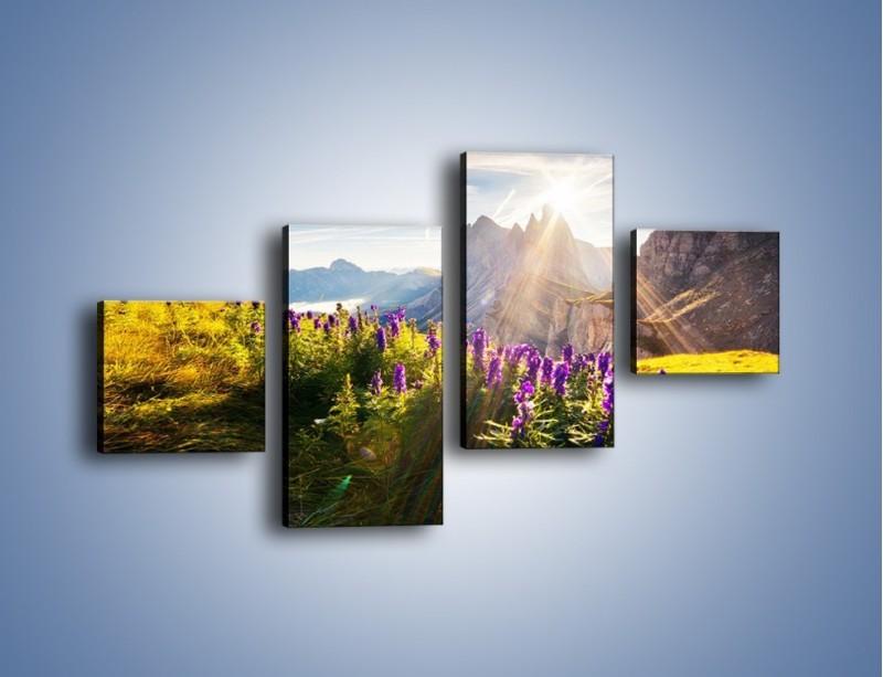 Obraz na płótnie – Góry w poświacie słońca – czteroczęściowy KN502W3