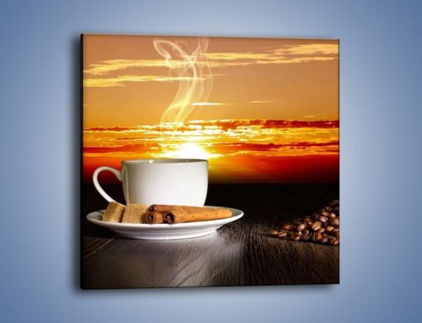 Obraz na płótnie – Kawa przy zachodzie słońca – jednoczęściowy kwadratowy JN366
