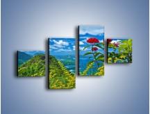 Obraz na płótnie – Bordowe kwiaty w górskim krajobrazie – czteroczęściowy KN561W3