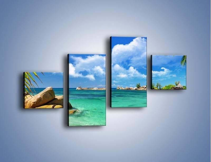 Obraz na płótnie – Tropikalna wyspa z katalogu – czteroczęściowy KN565W3