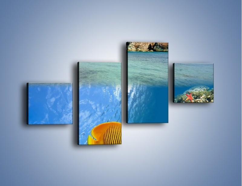 Obraz na płótnie – Podwodny świat na wyspie – czteroczęściowy KN586W3