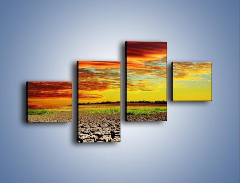 Obraz na płótnie – Spękane chmury i ziemia – czteroczęściowy KN602W3