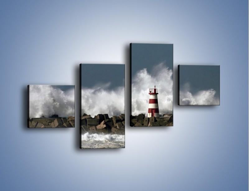 Obraz na płótnie – Latarnia morska w sztormie – czteroczęściowy KN626W3