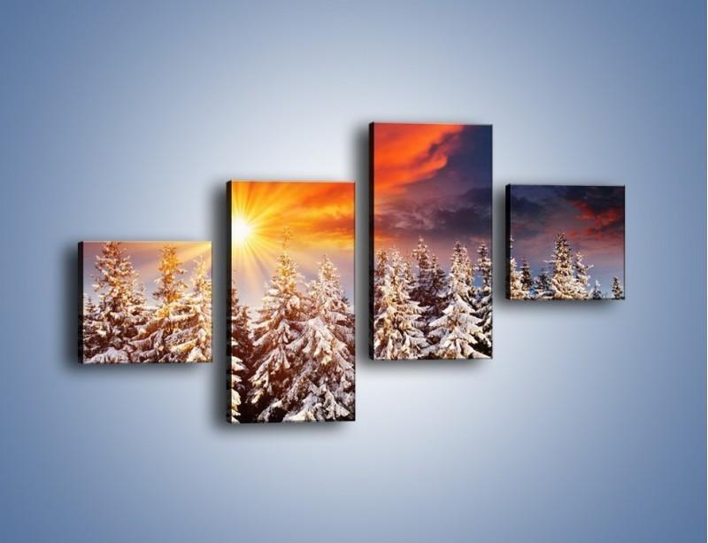 Obraz na płótnie – Choinki w środku zimy – czteroczęściowy KN682W3