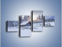 Obraz na płótnie – Chatka zatopiona w śniegu – czteroczęściowy KN696W3