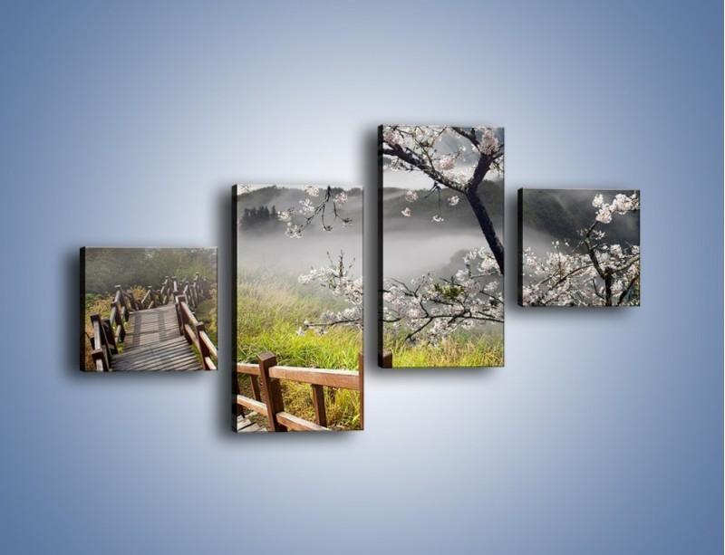 Obraz na płótnie – Drzewo wiśni i kręte schody – czteroczęściowy KN698W3