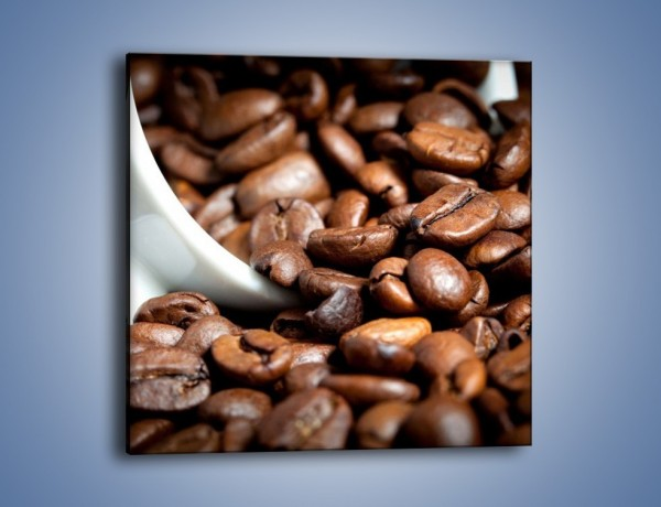 Obraz na płótnie – Ziarna kawy w kubku – jednoczęściowy kwadratowy JN367