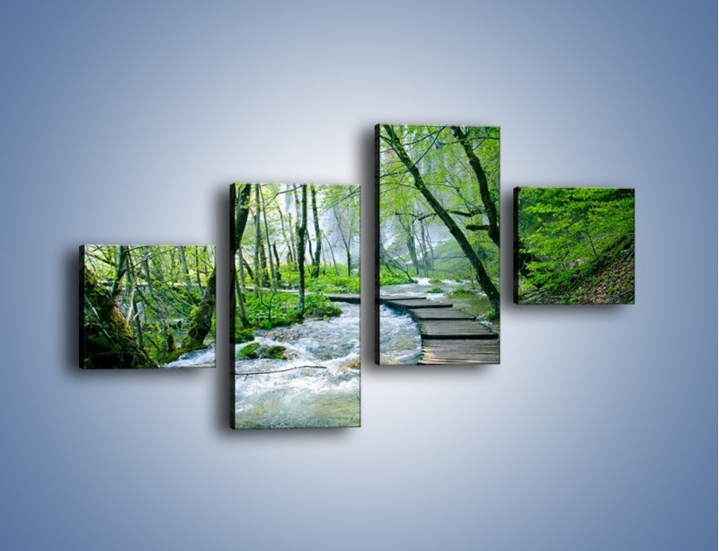 Obraz na płótnie – Drewniana kładką przez potok – czteroczęściowy KN720W3