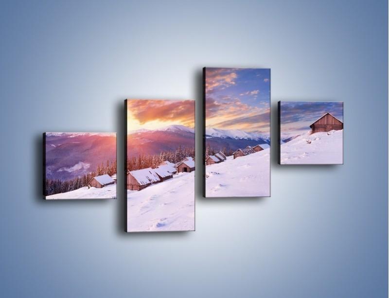 Obraz na płótnie – Chatka w śnieżnym dywanie – czteroczęściowy KN725W3