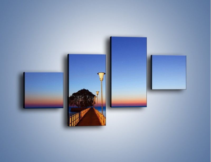 Obraz na płótnie – Wieczorny spacer po tafli morza – czteroczęściowy KN759W3