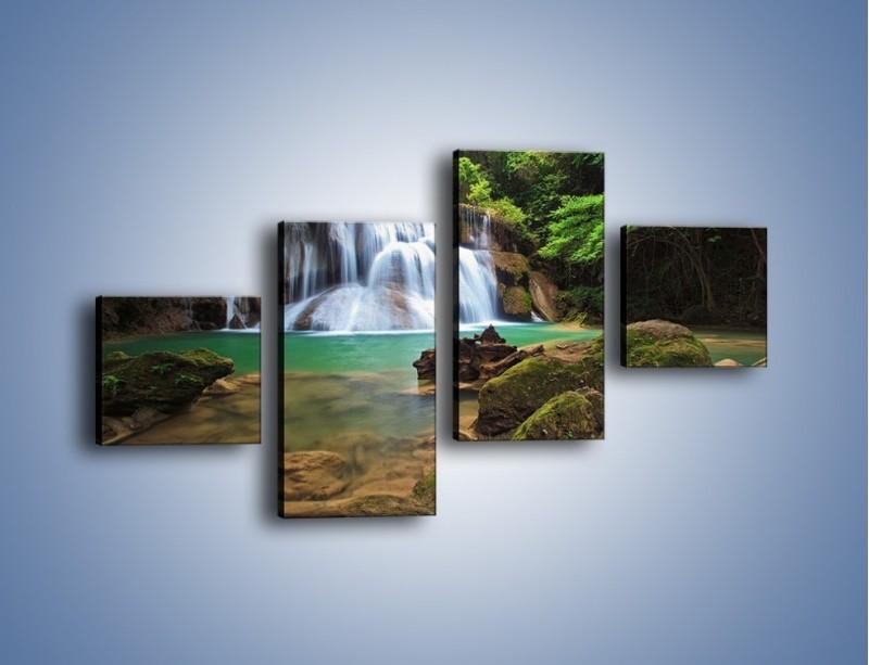 Obraz na płótnie – Drzewa schowane za wodospadem – czteroczęściowy KN792W3