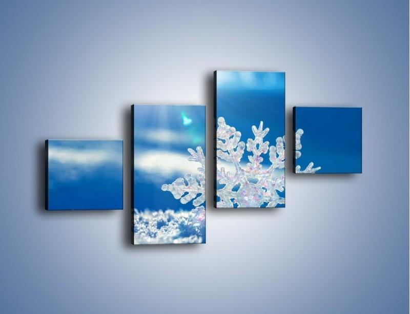 Obraz na płótnie – Diamentowa śnieżynka – czteroczęściowy KN808W3
