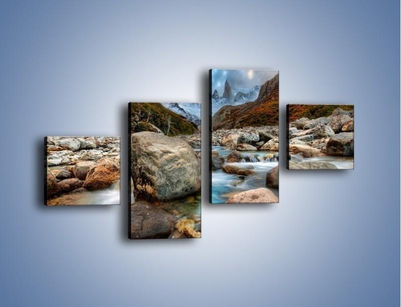 Obraz na płótnie – Niebezpieczny spacer po mokrych kamieniach – czteroczęściowy KN810W3