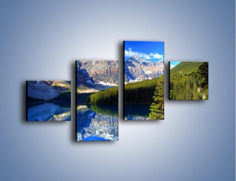 Obraz na płótnie – Góry i ich wodne odbicie – czteroczęściowy KN839W3