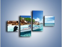 Obraz na płótnie – Błękit w wodzie i niebie – czteroczęściowy KN852W3