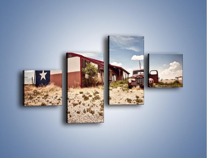 Obraz na płótnie – Autem przez texas – czteroczęściowy KN874W3