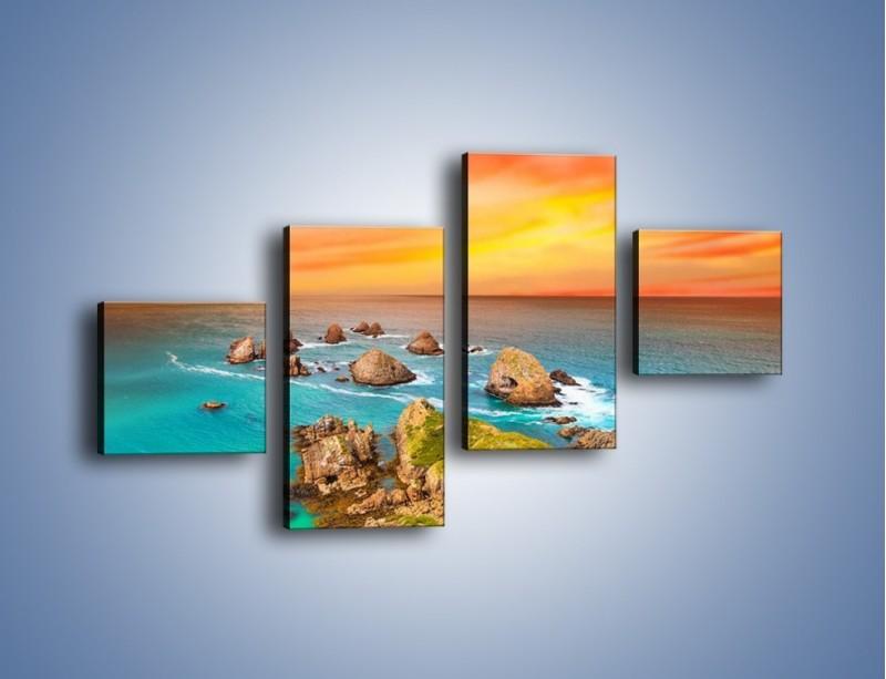 Obraz na płótnie – Kolory rozpalonego nieba nad wodą – czteroczęściowy KN879W3