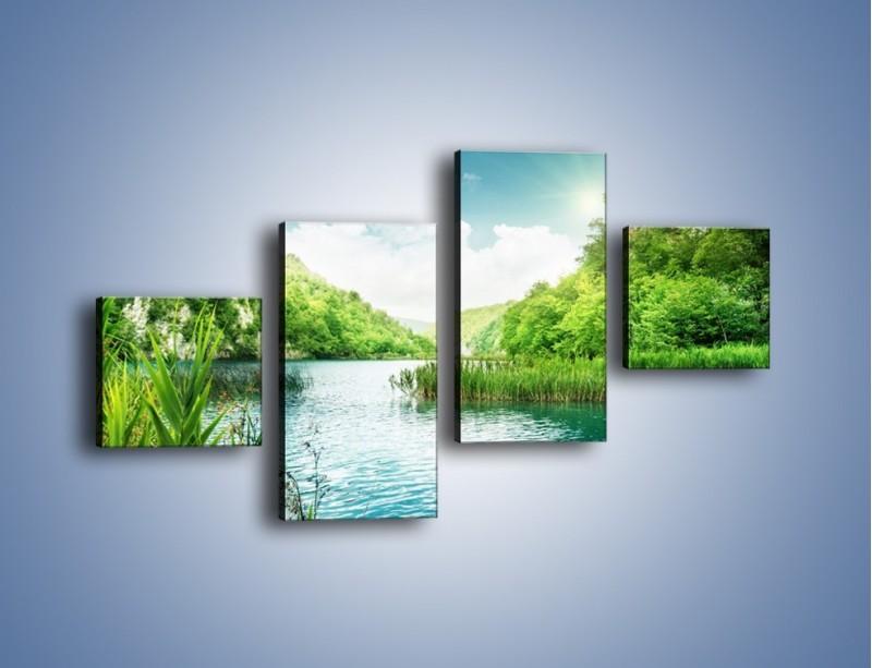 Obraz na płótnie – Wodnym śladem wśród zieleni – czteroczęściowy KN884W3