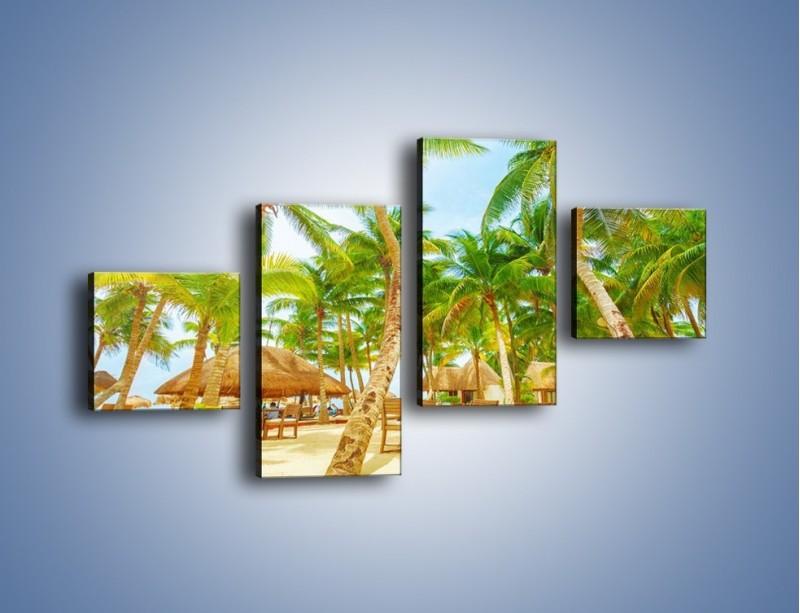 Obraz na płótnie – Słoneczna sjesta pod palmami – czteroczęściowy KN886W3