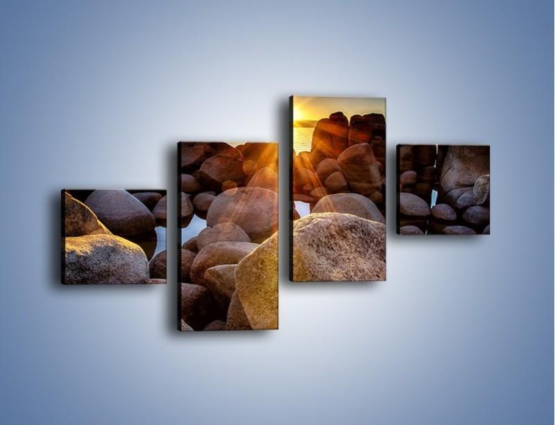 Obraz na płótnie – Kamienna wyspa w słońcu – czteroczęściowy KN888W3