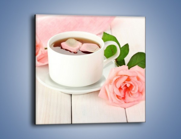 Obraz na płótnie – Herbata wśród róż – jednoczęściowy kwadratowy JN369