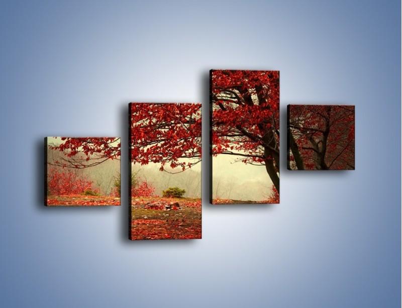 Obraz na płótnie – Spadające liście z drzew – czteroczęściowy KN910W3