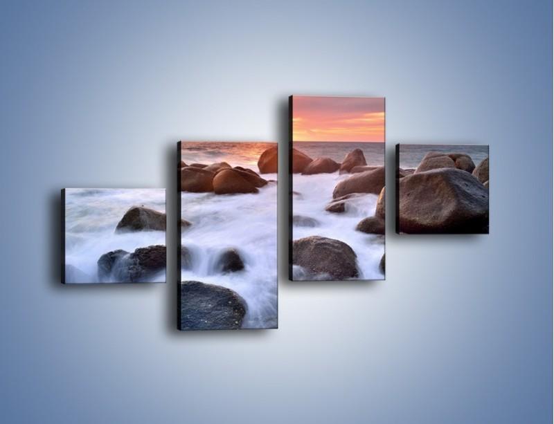 Obraz na płótnie – Kamienie zatopione w morzu – czteroczęściowy KN930W3