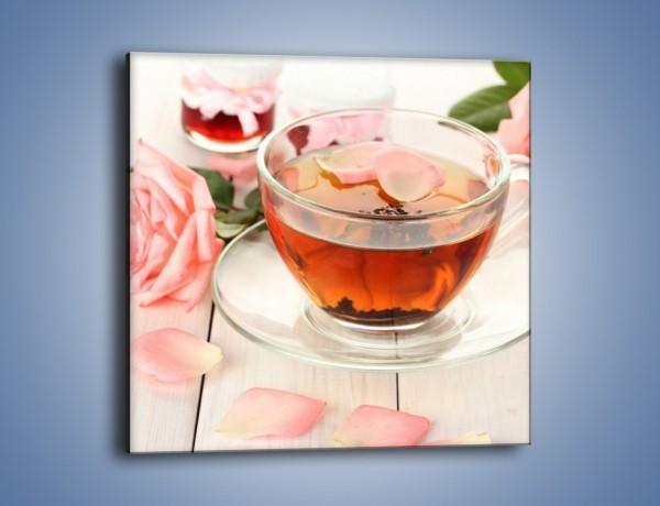 Obraz na płótnie – Herbata z płatkami róż – jednoczęściowy kwadratowy JN370