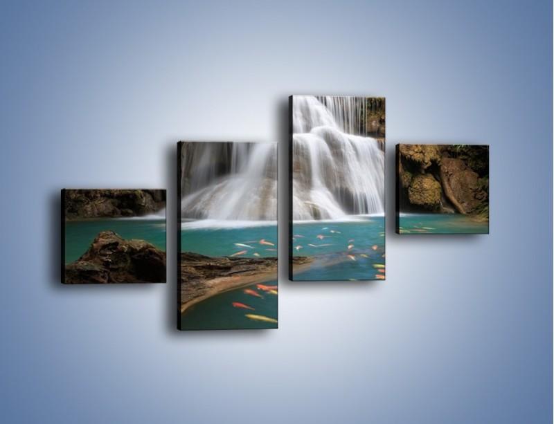Obraz na płótnie – Wodospad i kolorowe rybki – czteroczęściowy KN994W3