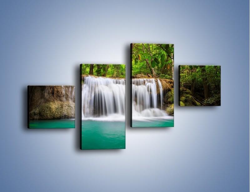 Obraz na płótnie – Kąpiel w środku lasu – czteroczęściowy KN995W3