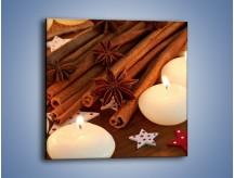 Obraz na płótnie – Cynamonowe szaleństwa przy świecach – jednoczęściowy kwadratowy JN371