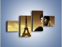 Obraz na płótnie – Czarna dama w paryżu – czteroczęściowy L114W3