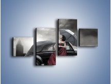 Obraz na płótnie – Dama pod parasolem – czteroczęściowy L139W3