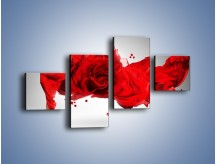 Obraz na płótnie – Czerwona róża i kobieta – czteroczęściowy L144W3