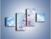Obraz na płótnie – Biała dama i światełka – czteroczęściowy L318W3