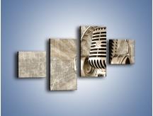 Obraz na płótnie – Głos w srebrnym mikrofonie – czteroczęściowy O026W3