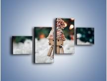 Obraz na płótnie – Mały ludek zimową porą – czteroczęściowy O166W3