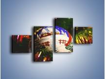 Obraz na płótnie – Bombka ręcznie malowana – czteroczęściowy O168W3