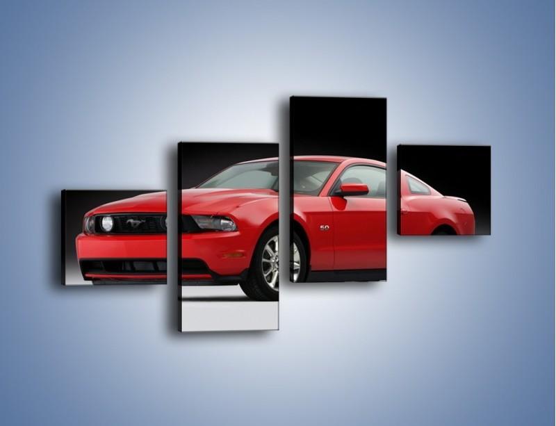 Obraz na płótnie – Czerwony Ford Mustang GT – czteroczęściowy TM052W3