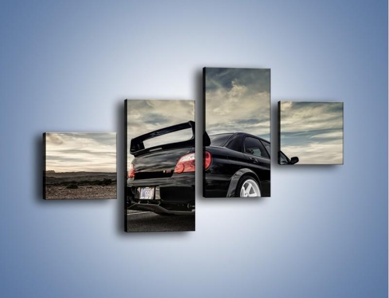 Obraz na płótnie – Czarne Subaru Impreza WRX Sti – czteroczęściowy TM133W3