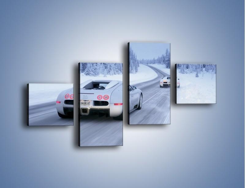 Obraz na płótnie – Bugatti Veyron w śniegu – czteroczęściowy TM134W3
